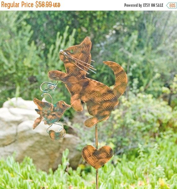 Cat and Bird Garden Stake Metal Yard Art Metal Garden Art