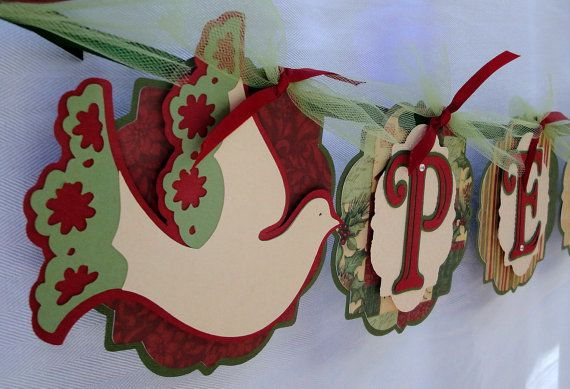 Peace Christmas Banner with Doves by APinkNest on Etsy