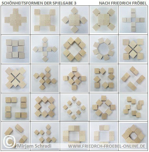 Friedrich Fröbel Spielzeug mit den Holzbausteinen der Spielgabe 3 Forms of Beauty/ Schönheitsformen