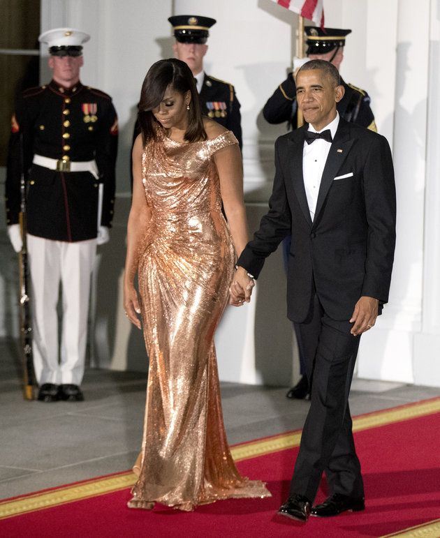 Michelle Obama Drops Jaws In A Chainmail Versace Gown At Her Last State Dinner | Huffington Post