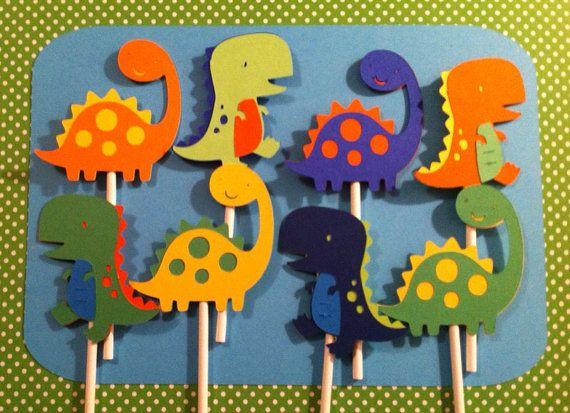12 Dinosaur Cupcake Toppers Dinosaur by LittleMissStarchick