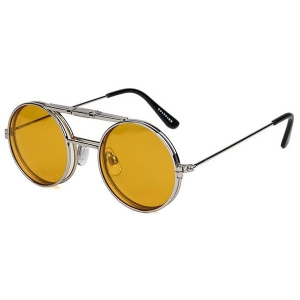 Spitfire Lennon Flip Silver/Clear/Orange Sunglasses ($71) ❤ liked on Polyvore featuring accessories, eyewear, sunglasses, silver, spitfire sunglasses, silver lens sunglasses, orange lens sunglasses, orange aviator sunglasses and clear glasses