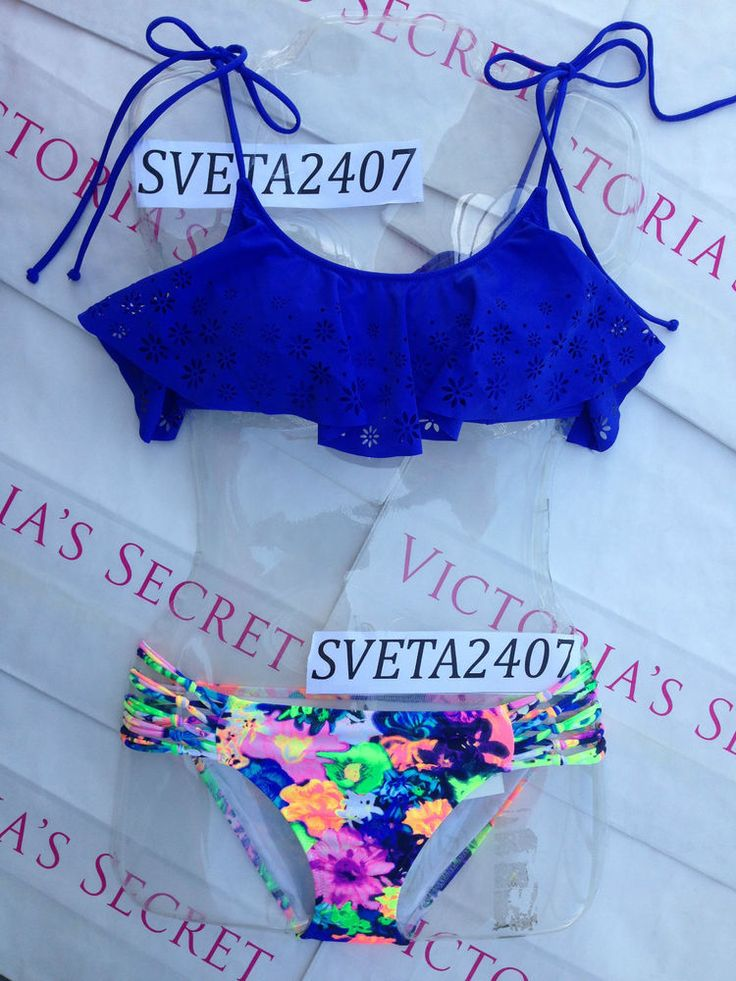 New Sexy Victoria's Secret PINK Bikini Set XS S M Floral Neon Ruffle  #VictoriasSecret #Bikini