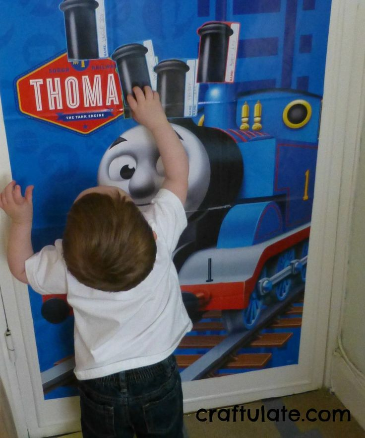 Party games:  Pin the Funnel on the Train  Hunt the Thomas (pictures of Thomas printed onto cards and hidden around the party rooms, with a prize for whoever collected the most) We put a sticky wall collage up and invited F and his cousins to add to it throughout the party