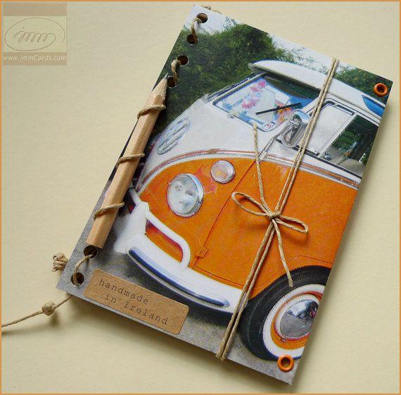 Camper Van Volkswagen >> Orange VW Camper Van Journal with Mini Pencil- Volkswagen Bus Transporter Kombi - Recycled Kraft ...