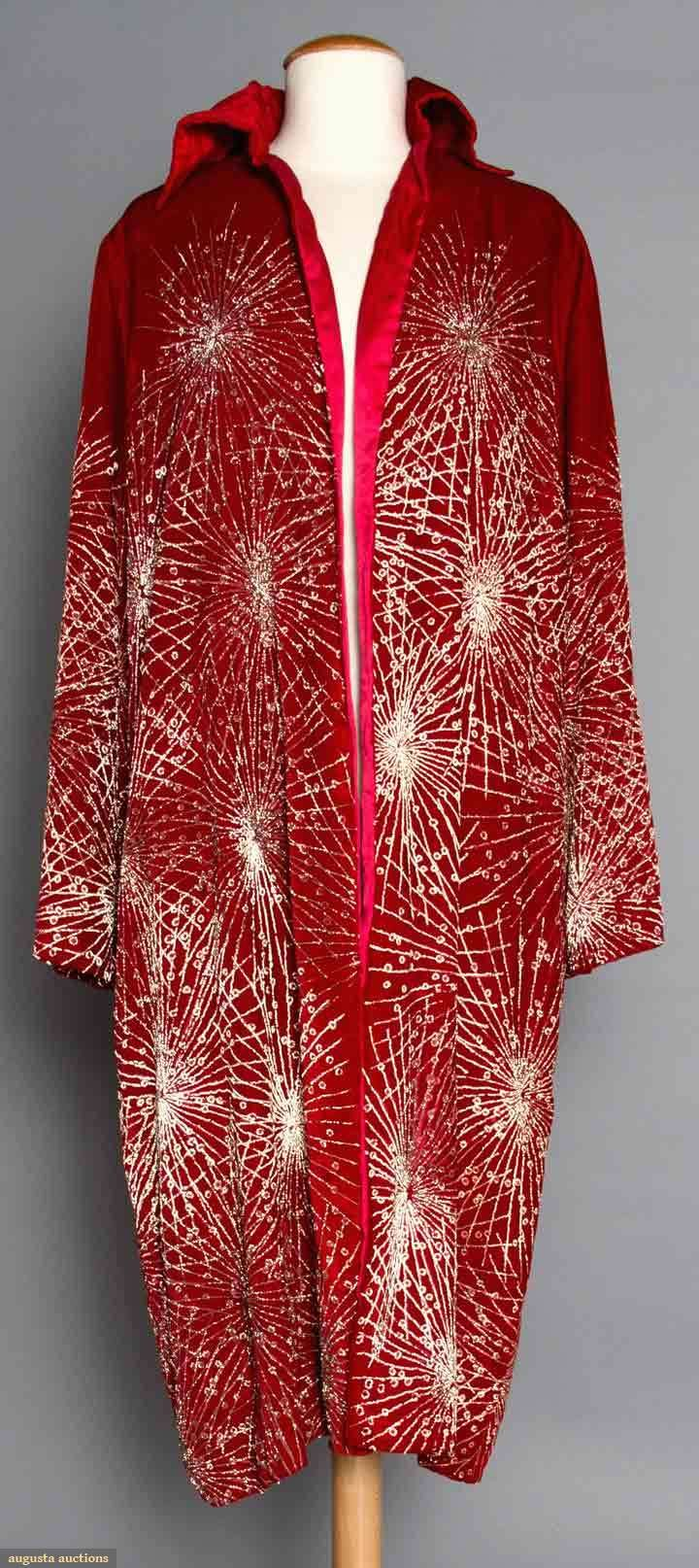 """RED VELVET OPERA COAT, 1920s  Painted w/ irridescent gold starburst pattern, tubular long sleeves, """"Ann Waller Farrell Newport, Rhode Island & Miami Beach Florida"""" label, cherry red silk lining, L 42.5"""", (some paint worn off, collar needs stitching in spots) very good."""