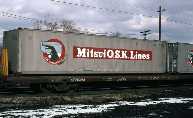 January of 1981, a Mitsui OSK Lines container (MOLU 200748) is seen passing through Dolton, Illinois.