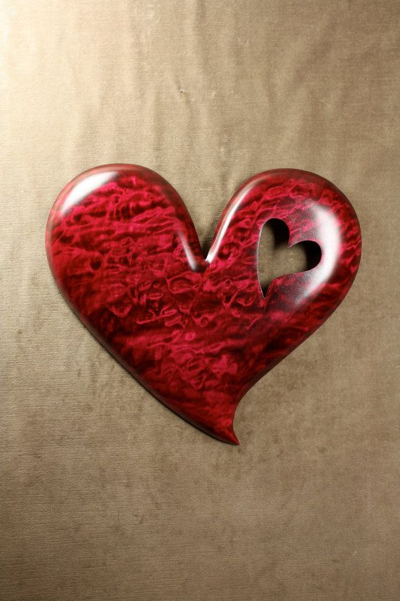 Handmade Ooak Birthday gift heart Wood by TreeWizWoodCarvings