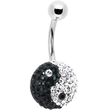 Black Ying Yang Austrian Crystal Evolution Belly Ring #bodycandy #bellyring $13.99