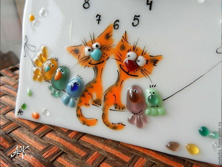 """Настольные часы """"Котокляксы"""" - рыжий,кот,кошка,март,влюбленные,весна,любовь"""