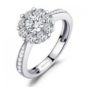 Floral Cluster Round Cut Created White Sapphire Rhodium Plated 925 Sterling Silver Women's Halo Engagement Ring