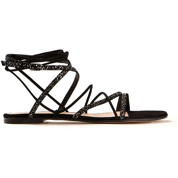 Gianvito Rossi Black Suede Libra Flat Sandals ($1,070) ❤ liked on Polyvore featuring shoes, sandals, suede flats, black beaded sandals, black suede sandals, shiny black flats and flat pumps