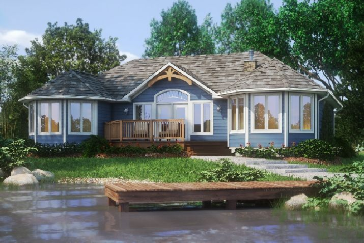 The Sunset Trent is a spacious, three bedroom vacation home ideal for lakefront or country lots.     This version has a very open concept, encompassing a large kitchen, dining room and family room, making efficient use of this cottage's entertaining space.  The master bedroom is located on the left side of the home with its own ensuite and walk-in closet.  Two bedrooms are located on the right side of the cottage with the main bathroom.  www.qualityhomes.ca