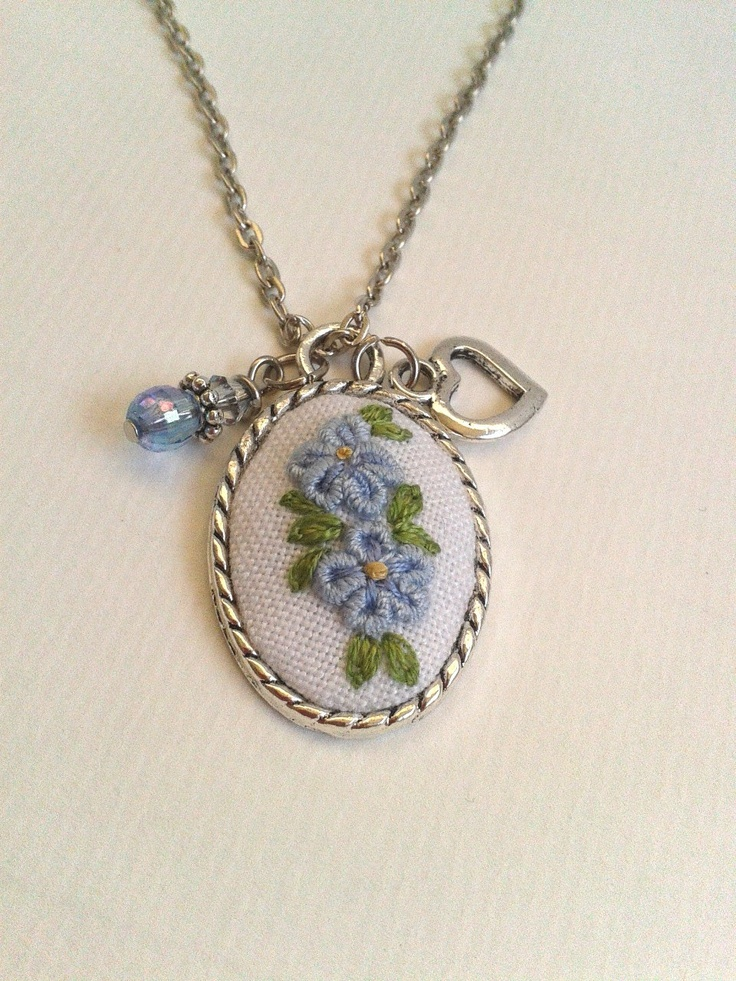 Forget me not hand embroidered pendant necklace