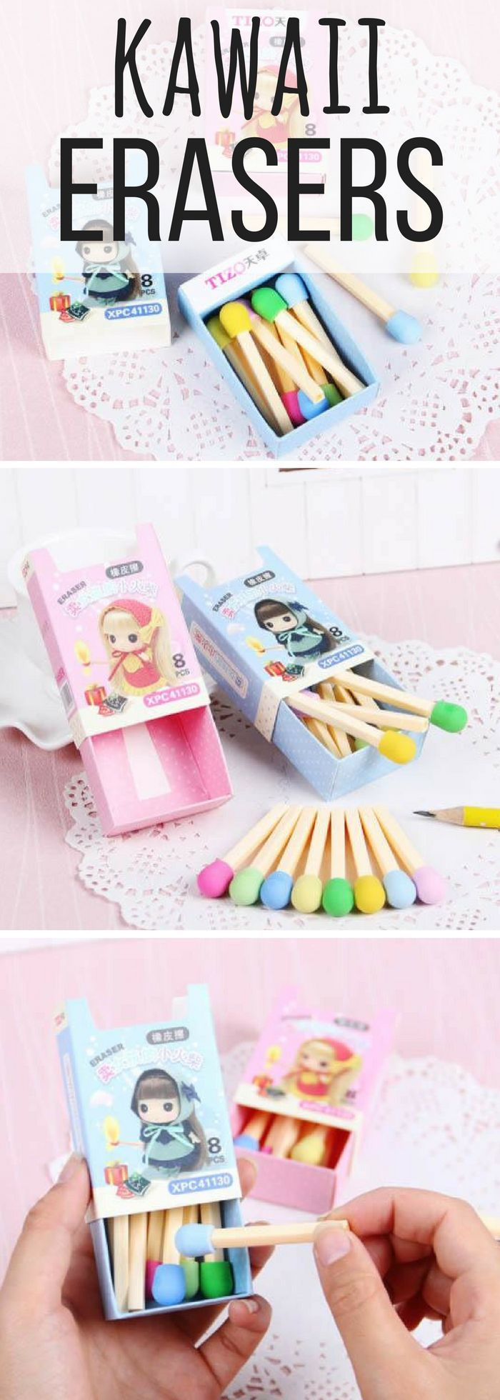Omg I love them! Little pastel matchstick erasers in the cutest boxes! Kawaii~~~! These are too cute to use. I wish I could go stationery shopping in Japan one day. #ad #etsyfinds #stationery #kawaii