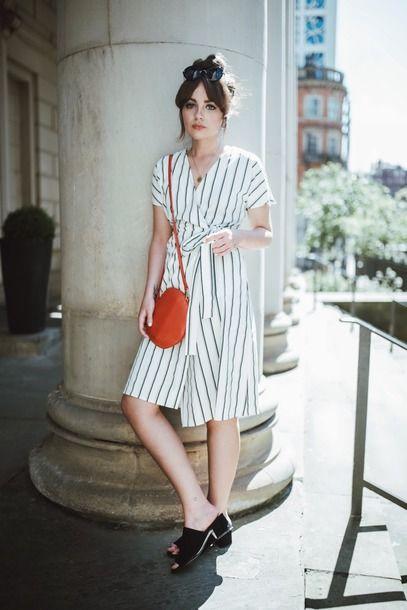 58670efb635b Vero Moda Stripe Wrap Striped Dress Teamed With Round Crossbody ...