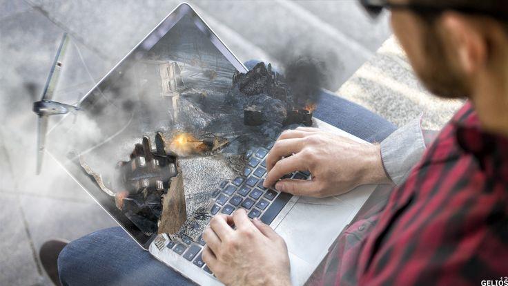 photoshop collage tank a laptop