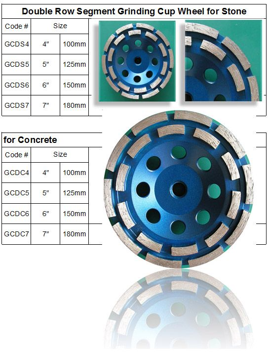 Double Row Diamond Grinding Cup Wheel with 8 diamond segments. made by RM Tech Korea (StoneTools Korea®) provides the highest quality; world top selling more than 500 sets monthly