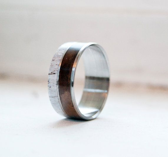 Antler and Turquoise Mens wedding band Titanium by StagHeadDesigns