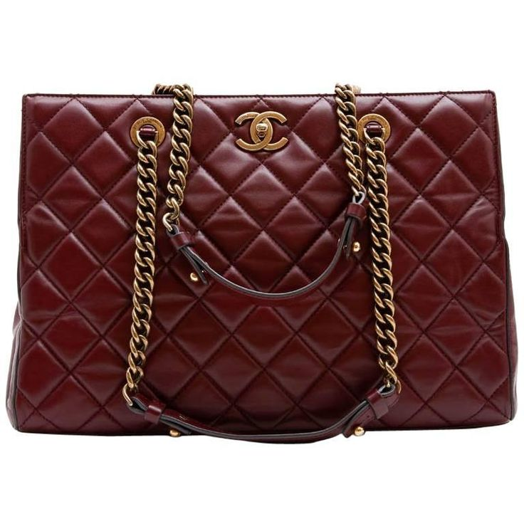 CHANEL Tote Bag in Burgundy Quilted Leather | From a collection of rare vintage tote bags at https://www.1stdibs.com/fashion/handbags-purses-bags/tote-bags/