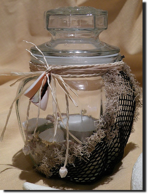 Beach Under Glass - Tealight Candle Holder w/ Black Netting by A2SeaCreations, via Flickr