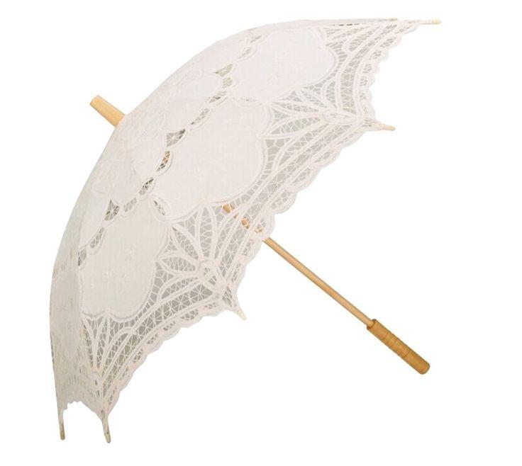 Parasole di pizzo ricamato a mano, stile Vintage Battenburg, color avorio, per damigella d'onore della sposa 76,20 cm, colore: beige: Amazon.it: Giardino e giardinaggio