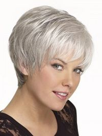 Gentle Straight Cropped Synthetic Grey Wigs