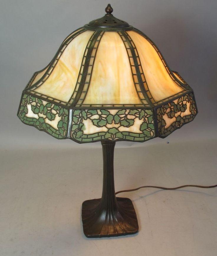 Signed handel art nouveau table slag glass filigree lamp c 1900 antique
