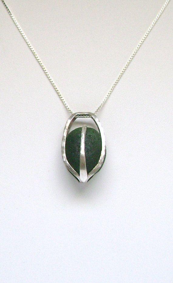 Zee glas sieraden Sterling gekooide donker groene zee glas