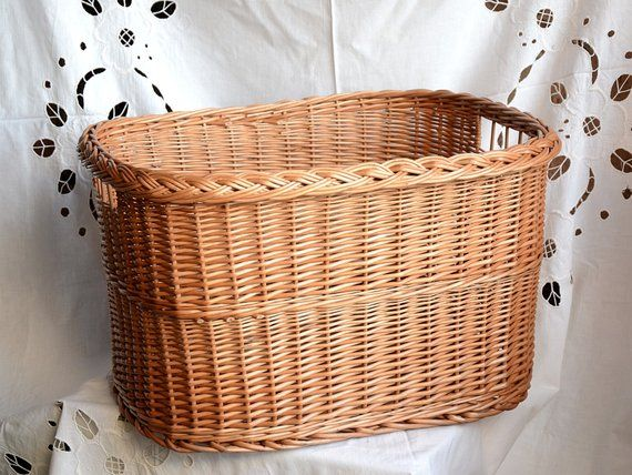 Wicker Laundry Basket Handwoven Storage Basket Laundry Hamper Basket Willow Log Basket Firewood Firewood