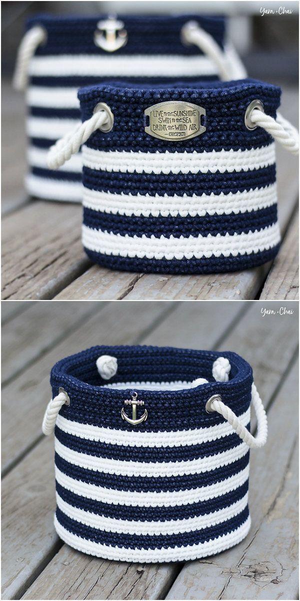 Nautical Basket Free Crochet Pattern