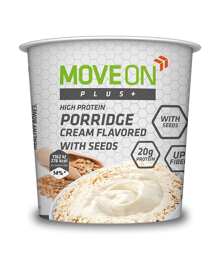 Owsianka śmietankowa z ziarnami i dodatkową porcją białka 70g. | Porridge cream flavored with seeds and minerals. #moveon #moveonsport #moveonpl #sport #oatmeal #porridge #healthy #diet #food #athlete #seeds #fibre #nutrition #minerals #protein #owsianka #dieta #zdrowie