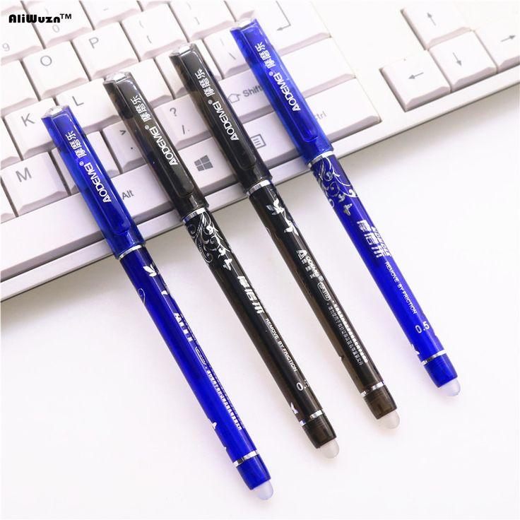 2pcs / Lot Remove By Friction 0.5mm Gel Ink Pen School Stationery Gift Pen Promotional Pen Fine Stationery Writing Pen Erase