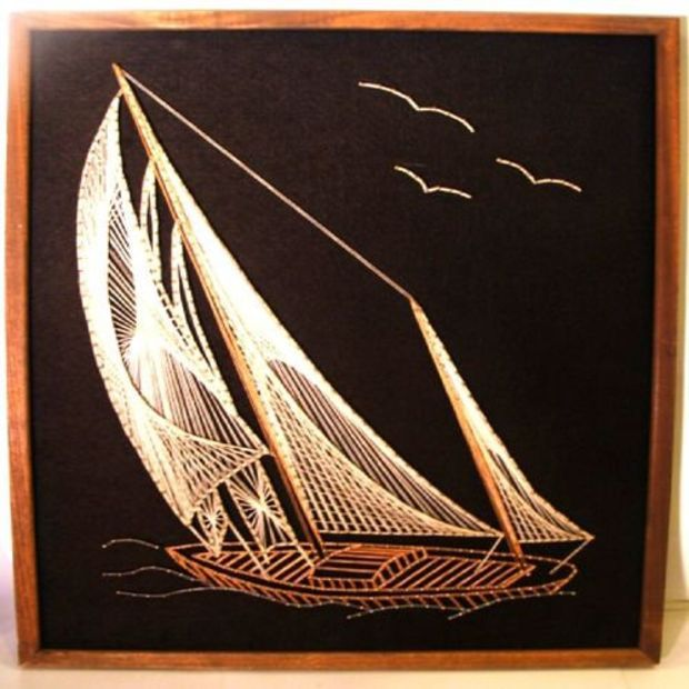 Sail Ship Boat Nautical Realism Art String Framed Large Sailing Sailboat Folk IS