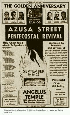 The Azusa Street Revival was a historic Pentecostal revival meeting that took place in Los Angeles, California and is the origin of the Pentecostal movement. It was led by William J. Seymour, an African American preacher. It began with a meeting on April 9, 1906, and continued until roughly 1915. The revival was characterized by ecstatic spiritual experiences accompanied by miracles, dramatic worship services, speaking in tongues, and inter-racial mingling.