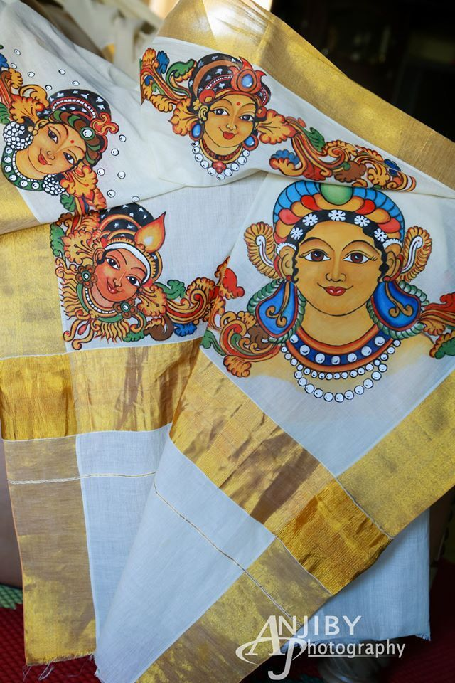 Mural painting on kasavu saree paintings pinterest for Aithihya mural painting fabrics
