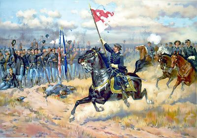 General Philip Sheridan rallying the Union Army at the Battle of Third Winchester (Opequon), a critical battle in the Shenandoah Valley campaign of 1864, which helped Lincoln win re-election