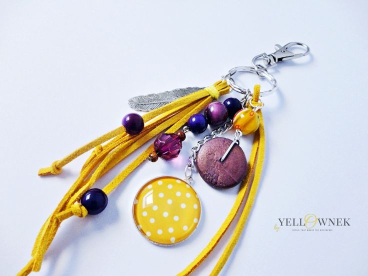 SUNNY PURPLE Handmade bag charm/keyring. Mix of leather, glass cabochon, chains glass/ceramic/wood/plastic beads and satin ribbon.