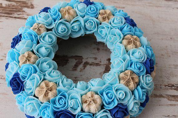Front door wreath wedding center piece blue wreath bridal