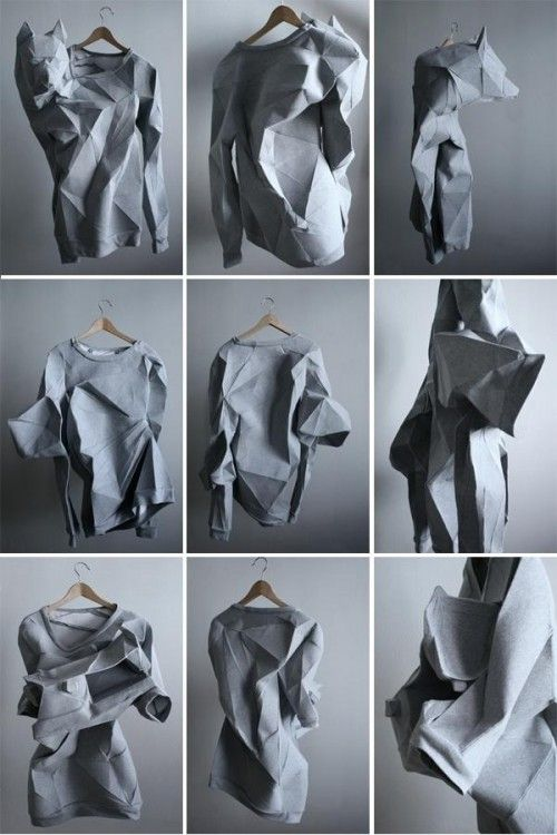 21st November These amazing T-shirts are products of a collaboration between Linda Kostowski and Mashallah Design whose designers shaped the grey jersey fabric based on digital scans of their bodies and their lives' narratives. The results are a range of personified, multi-faceted garments which convey poetry through digital fabrication. Check out their website The T-shirt Issue in detail.