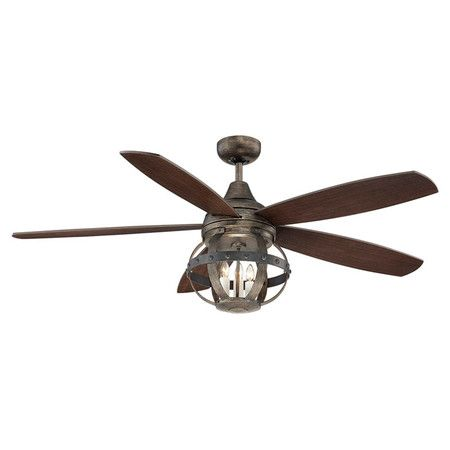 Featuring a wine barrel-inspired light and richly finished blades, this rustic ceiling fan evokes vineyard breezes in your sunroom or den. ...
