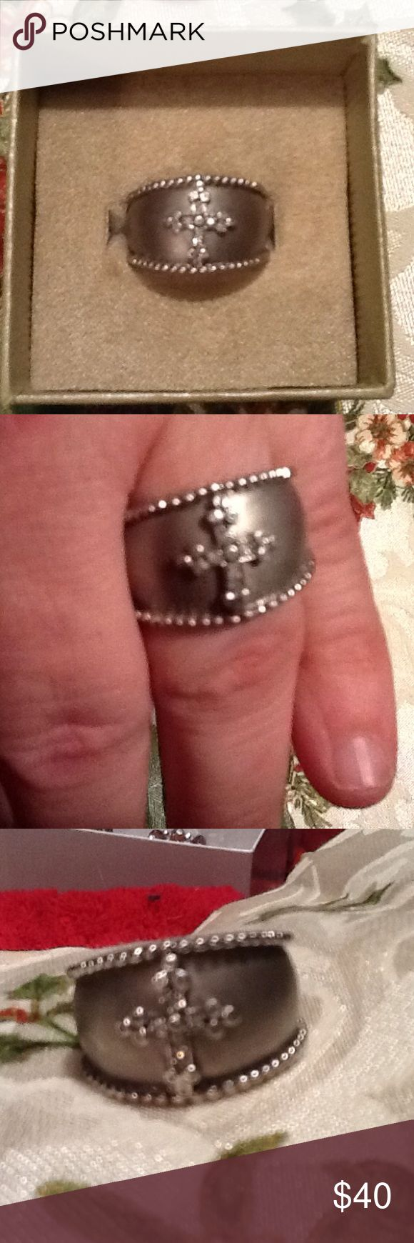 Wide silver cross ring Brand new 925 silver wide band ring with central raised embossed cross with iridescent tiny crystals.  Purchased on QVC or HSN. Jewelry Rings