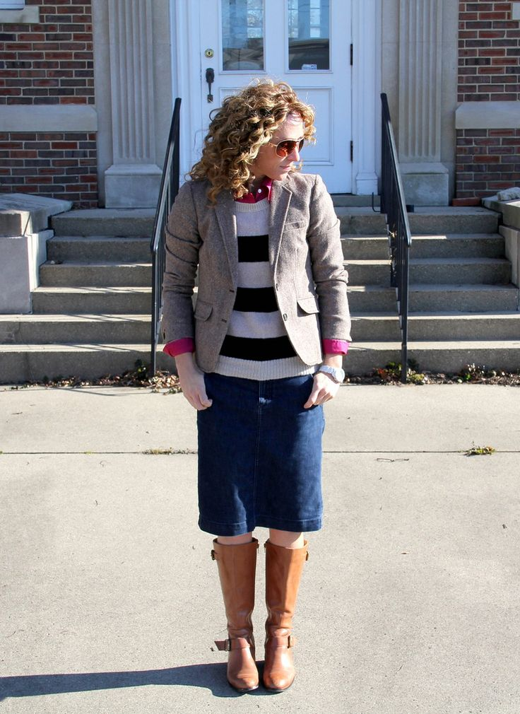 jacket, striped sweater, skirt, boots