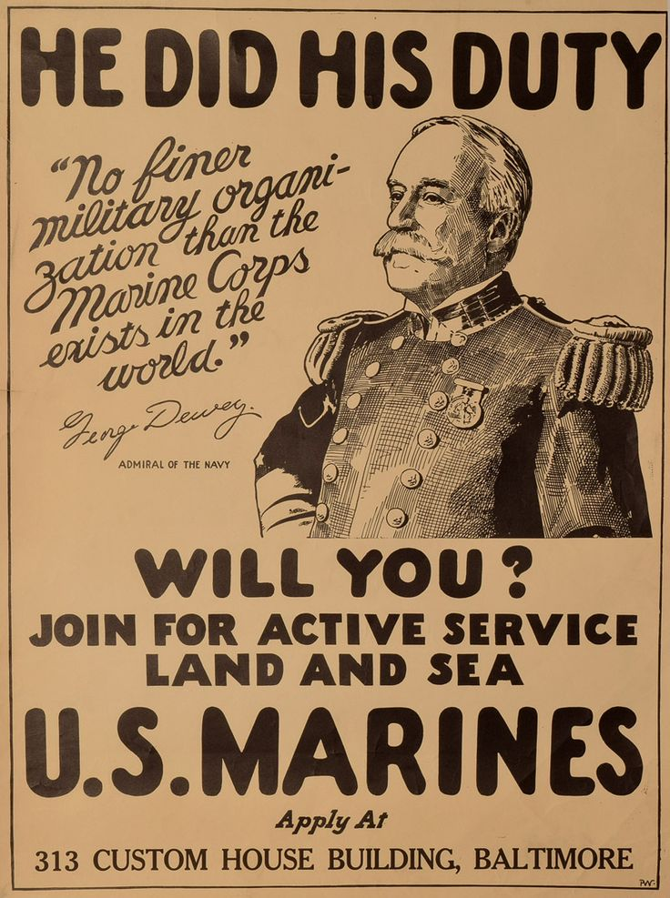 Lot 919 - He Did His Duty. Will You?, this U.S Marine recruitment poster showing a half length portrait of