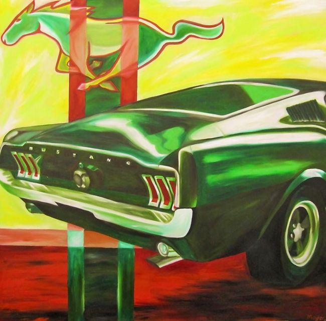 Der Jever Mustang ... - Ende der 60er Jahre wurde genau dieses Fahrzeug zum Symbol der Sportlichkeit – im Film Bullitt mit Steve McQueen in den Hängen von San Francisco.  Bullitt-Felgen, Bullitt-Green und natürlich das über allen schwebende Emblem, das Running Horse. Heckansicht: Klare Linien und  Formen – wie  eigentlich überall wiederkehrende  Farben im Vorder- und Hintergrund. Beschränkung auf Grün, Gelb und Rot. Glanz – Licht.