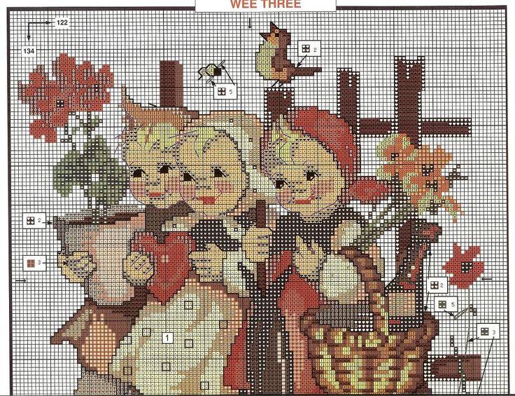 """""""Wee Three"""" Hummel cross stitch pattern 2A"""