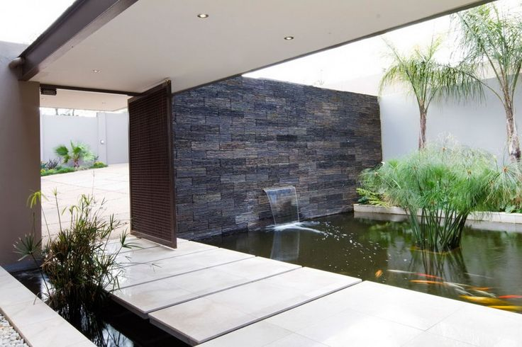 Architecture, Indoor Fish Pond Waterfall Bamboo Plants Stone Wall Cement Bridge Plus Iron Gate Door: The Outstanding House Sed Architected b...