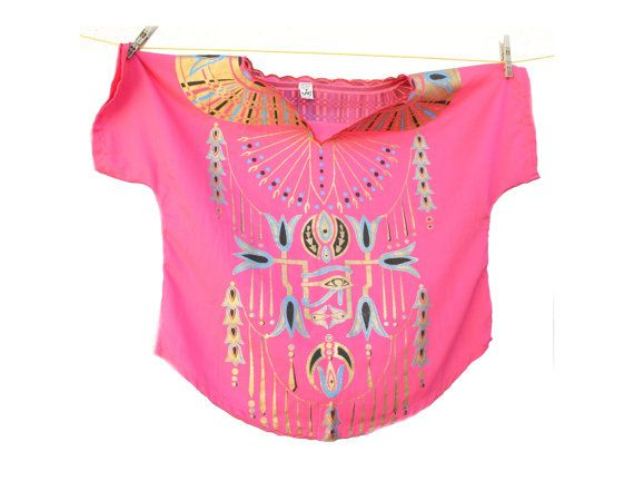 Pink and gold Egyptian Top Vintage Egyptian Shirt by SoulSisters16