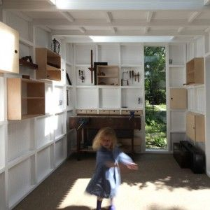 Garden Workshop designed around an old  workbench and a collection of handmade tools