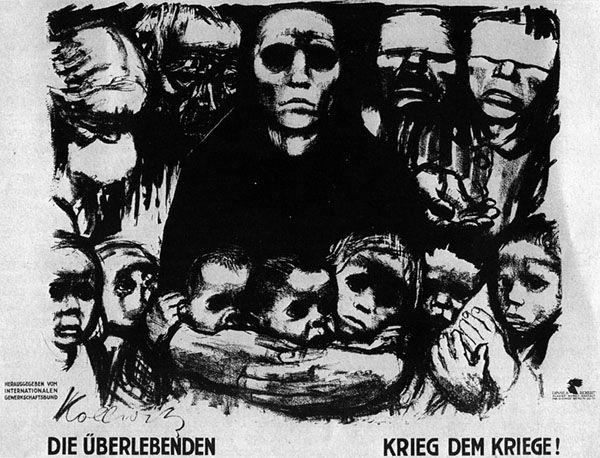 Käthe Kollwitz The Survivors, 1923 Lithograph on smooth thin cream poster paper.  http://artsy.net/artwork/kathe-kollwitz-the-survivors